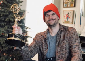 Michael Waldron with his Emmy