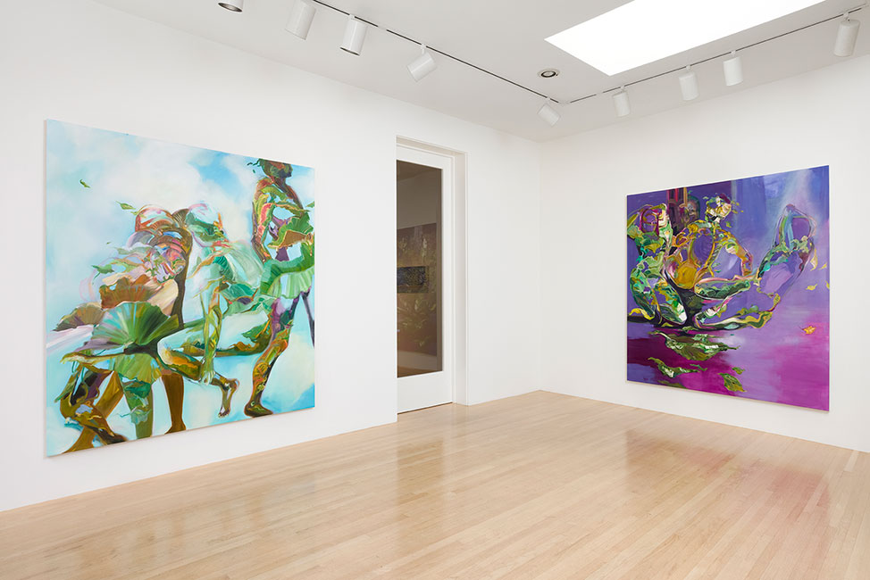 Two paintings hung in a white gallery