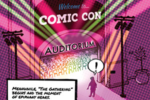 Comic illustration of a woman walking into Comic Con