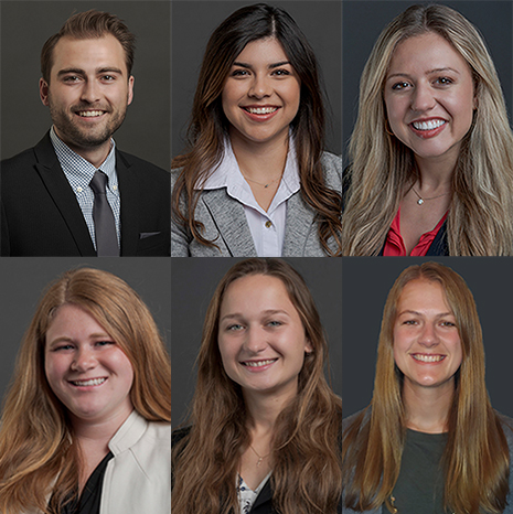 Six Fulbright scholars smile for professional portrait.