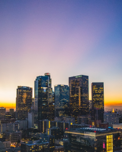 View of downtown los angeles skyline at sunset