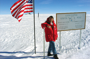 Larson at the Geographic South Pole - Pepperdine Magazine