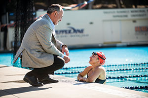 Bob and Jessica Mosbaugh at the Raleigh Runnels Memorial Pool