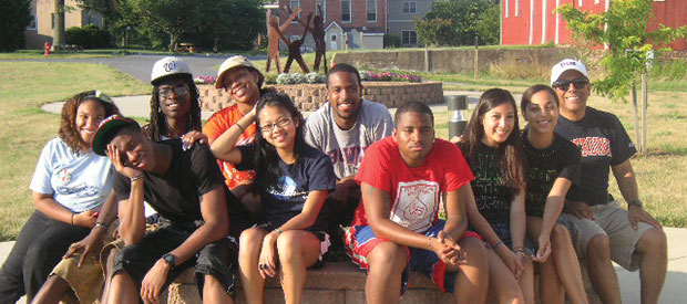 """Genevieve David (front, third from left) and her """"posse,"""" with faculty mentor Dan Rodriguez in 2011"""