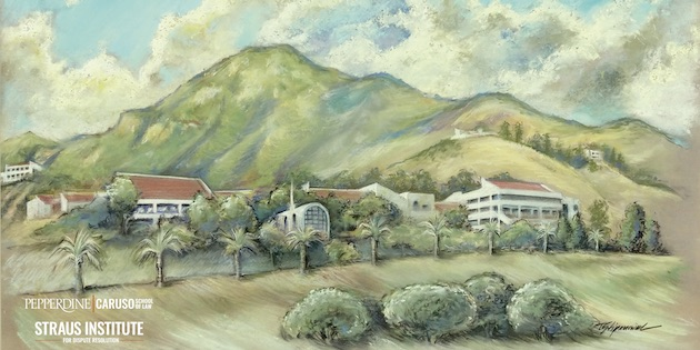 A watercolor painting of the Pepperdine campus