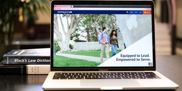 visual of new Pepperdine Law web homepage