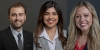 Three Fulbright recipients Anthony Adducci, Chanel Diaz, and Brianna Beiler smile for professional portrait.