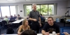 Dr. Stephen Raiper with students in a classroom
