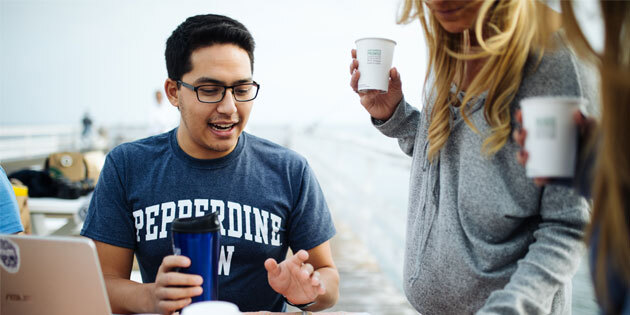Pepperdine law students studying outdoors