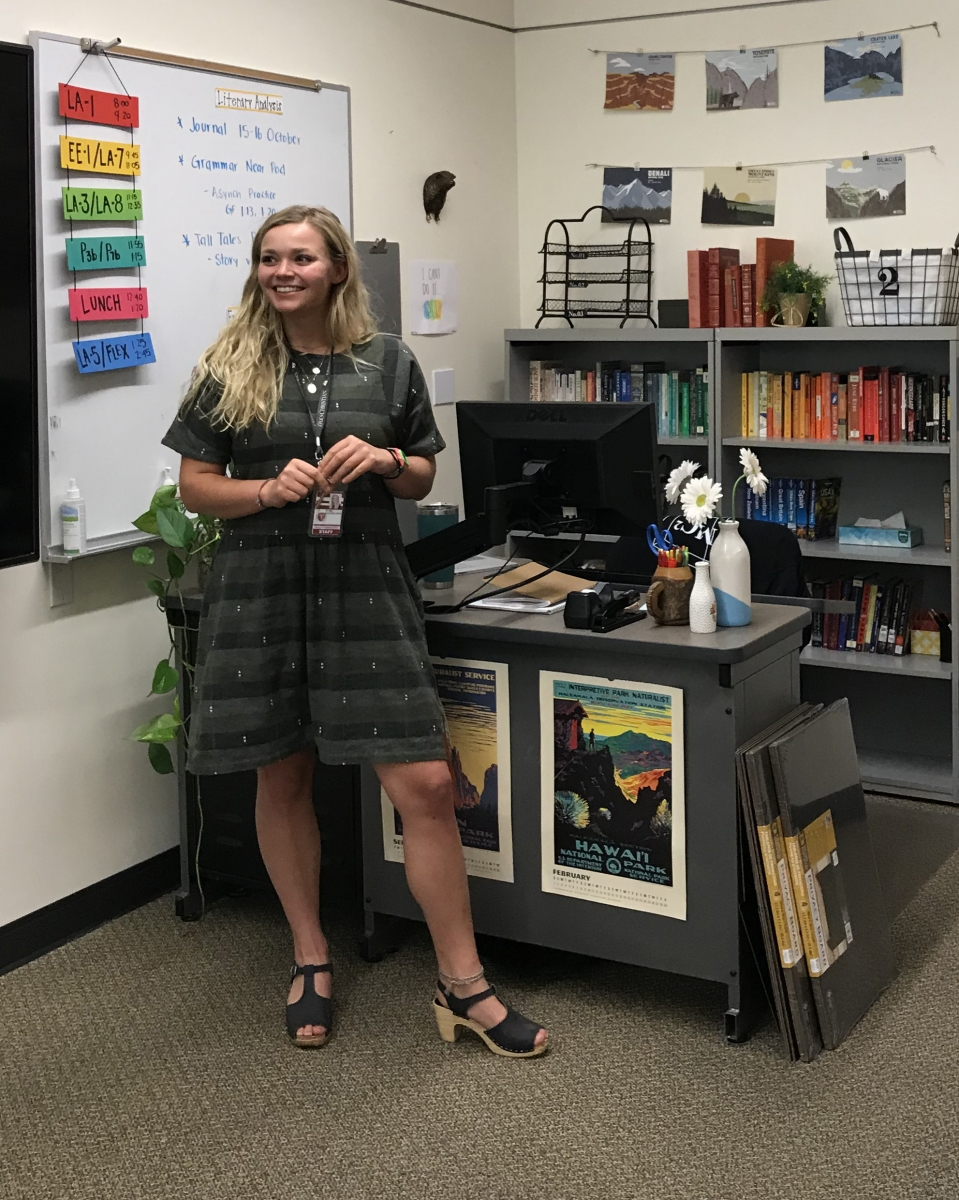 Tatum Shackelford in her classroom outfitted for virtual instruction